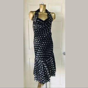 Musani Couture Navy Silk Polka Dot Halter Dress 14